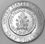 Brilliant Uncirculated 2015 Kennedy half dollar, counterstamped with the Coat of Arms of Pope Francis by Mel Wacks.