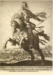 Wallenstein: Duke of Friedland, imperial treasurer and councillor of war, highest ranking colonel and general of Prague. Copperplate print, 1625/28. Source: Wikicommons.