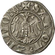 Die Meinhardzwanziger wurden ab 1311 sogar in Verona nachgeprägt. Darauf weist die Leiter, das Wappen der Scaliger, über dem Schnabel des Adlers hin. Rizzolli-Pigozzo Abb. 48.