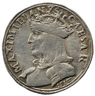 Minted in Verona, this testone with the portrait of Maximilian I has a value of 20 kreuzer. Rizzolli-Pigozzo fig. 128.