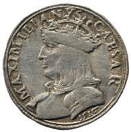 In Verona geprägter Testone mit dem Porträt Maximilians I. im Wert von 20 Kreuzern. Rizzolli-Pigozzo Abb. 128.