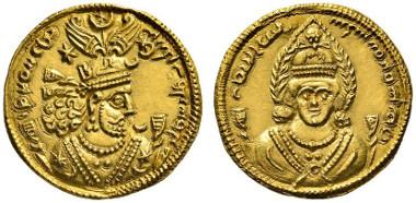 170 Sasanids. Xusro II, 591-628. Gold dinar, 611. Extremely fine. Estimate: 15,000 euros. Starting price: 9,000 euros.