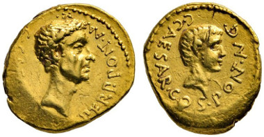 206 Roman Republic. Octavian for Divus Julius Caesar. Aureus, 43 B. C., field mint in Northern Italy. Extremely rare. Scratches on the obverse, otherwise very fine / about extremely fine. Estimate: 30,000 euros. Starting price: 18,000 euros.