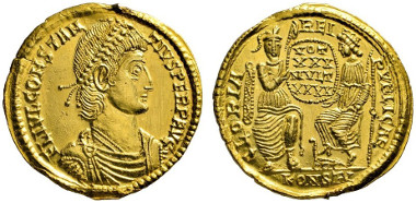 487 Roman Imperial. Constantius II, 337-361. Gold medallion of 2 solidi, 353, Arles. Ex Numismatik Lanz 154 (2012), 518. Extremely rare. Trace of mounting on obv., otherwise extremely fine. Estimate: 25,000 euros. Starting price: 15,000 euros.