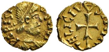 557 Merovingians. Paris. Gold tremissis of Eligius. Very fine. Estimate: 7,000 euros. Starting price: 4,200 euros.