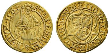 583 HRE. Stephen Count Palatine of Simmern, 1410-1439. Gold gulden n. d. (1439), Wachenheim. Extremely rare. Very fine. Estimate: 10,000 euros. Starting price: 6,000 euros.