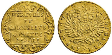 603 Italy. Castiglione de' Gatti. Hercules and Cornelius Pepoli, 1700-1703. Scudo d'oro n. d. (1700). Ex Numismatik Lanz Auction 154 (2012), 1160. Estimate: 20,000 euros. Starting price: 12,000 euros.