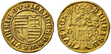 665 Hungary. John Hunyadi, 1446-1453. Gold gulden n. d. (1446/7), Nagybanya. Ex RBS Collection, Numismatik Lanz Auction 152 (2011), 615.