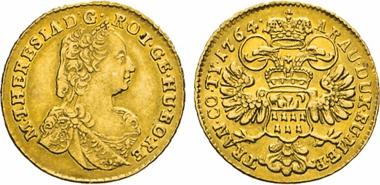 Los 506: Ungarn. Maria Theresia, 1740–1780. Für SIEBENBÜRGEN. Dukat 1764, o.Mzz. Eyplt. 353. Friedb. 543. Her. 216.