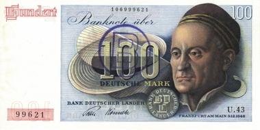 Los 1819: 100 Mark vom 9.12.1948. Ausgabe für West-Berlin. Ros. 257.