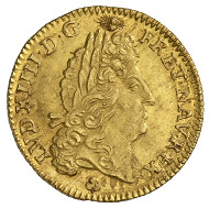Louis XIV, King of France (1643-1715). Louis d'or 1693, La Rochelle. Head of Louis, to the right. R. Crowned arms with fleur-de-lis. © MoneyMuseum, Zurich.