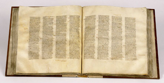 Codex Sinaiticus, open at John chapter 5 verse 6 - chapter 6 verse 23, New Testament volume. Image courtesy of the British Library.