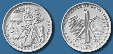 Der Entwurf der neuen Gedenkmünze auf Otto Dix. © BADV.