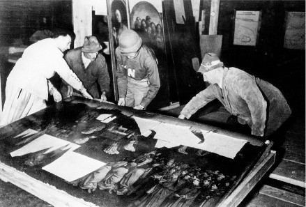 The Ghent Altarpiece recovered from the Altaussee salt mine at the end of World War II.