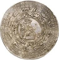 Lot 8: BRUNSWICK-WOLFENBÜTTEL. Julius, 1568-1589. Löser of 10 reichsthaler 1583, Heinrichstadt (Wolfenbüttel), with struck cipher of value. Extremely rare. Very fine. Estimate: 20,000,- GBP. Hammer price: 46,000,- GBP.