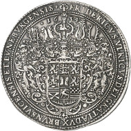 Lot 47: BRUNSWICK-WOLFENBÜTTEL. Frederick Ulrich, 1613-1634. Löser of 10 reichsthaler 1634, Zellerfeld. Made of metal mined from the St. Jakob Mine at Lautenthal. Very rare. Extremely fine. Estimate: 40,000,- GBP. Hammer price: 160,000,- GBP.