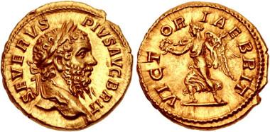 Lot 595: Septimius Severus. AD 193-211. Aureus. Rome mint. Struck AD 210-211. RIC IV 334; Calicó 2564; BMCRE 60; SCBC 649. EF. Very rare. Estimate: $50,000.