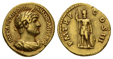 Lot 491: Hadrian, 117-138 Aureus 119-122., C 1071. RIC 65. Calicó 1312. Very rare. Reddish tone and About Extremely Fine / Good Very Fine. Ex NAC sale 78, 2014, 2225. Starting bid: £2500.
