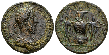 Lot 517: Commodus, 177-192 Medallion 184-185, C 473 var. (laureate and draped). Gnecchi 74 and pl. 83, 2 var. (laureate and draped). NAC sale 33, 2006, 513 (same dies). Brown patina and extremely fine. Extremely rare. Several areas of corrosion; otherwise Good Very Fine. Starting bid: £800.
