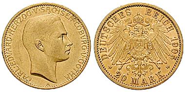 Sachsen-Coburg-Gotha. Carl Eduard. 20 Mark 1905 A. J. 274. Sehr schön bis vorzüglich / vorzüglich bis Stempelglanz. 3.850 Euro.