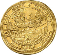 Lot 226: BRANDENBURG-FRANCONIA. Christian Ernest, 1655-1712. 2 ducats 1695, Bayreuth. Made of metal mined from the mines at Goldkronach. Extremely rare. Extremely fine. Estimate: 20,000,- GBP. Hammer price: 50,000,- GBP.