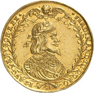 Lot 485: HRE. Ferdinand III, 1625-1637-1657. 10 ducats 1648. Made of metal mined from the Ferdinand Mine at Schemnitz. Probably unique. Extremely fine. Estimate: 100,000,- GBP. Hammer price: 260,000,- GBP.