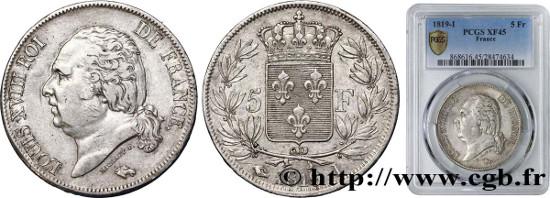 France. 5 francs Louis XVIII, tête nue 1819 Limoges F.309/43, TTB. Estimate: 9,000 euros.