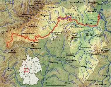 Die Eder und ihre Nebenflüsse. Quelle: Lencer / https://creativecommons.org/licenses/by-sa/3.0/deed.en.