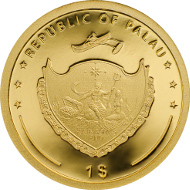 Palau / Four-Leaf Clover in Gold 2016 / 1 Dollar / Gold .9999 / 1 g / 13.92 mm /  Mintage: 2016.