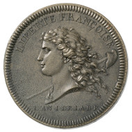 France. Medal, issued on behalf of the united artists of Lyon in 1792. Head of Liberty with streaming hair, facing left, over her shoulder a staff with Phrygian cap, below the inscription (translated)