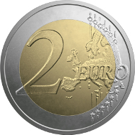 Latvia / 2 Euros / Copper, Nickel, Brass / 8.50 g / 25.75 mm / Design:  Luc Luycx  (common side) and Georgios Stamatopoulos (national side) / Mintage: 1,000,000.