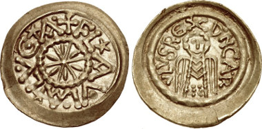 Lot 2207: CAROLINGIANS. Charlemagne. As Charles I, King of the Franks, 768-814. Tremissis. Depeyrot 515B. EF. Extremely rare. From the collection of Dr. Lawrence A. Adams. Estimate: $75,000.