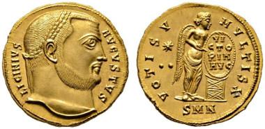 Los 299: RÖMISCHE KAISERZEIT. Licinius I. (308-324), Aureus, Nicomedia (Izmit), Juli 315-316 n. Chr. Calicó 5145 (R2, stgl. Abb.), Depeyrot 16/2. RR, stplfr. Rufpreis: 18.000 Euro, Zuschlag: 37.000 Euro.