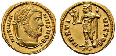 Los 290: RÖMISCHE KAISERZEIT. Galerius Caesar (293-305), Aureus, Siscia (Sisak), 302-305 n. Chr. Calicó 4934 (R4, dieses Exemplar), Depeyrot 5/3. RRR, stplfr. Rufpreis: 5.000 Euro, Zuschlag: 26.000 Euro.