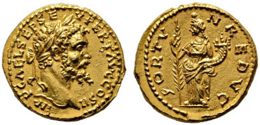 Los 171: RÖMISCHE KAISERZEIT. Septimius Severus (193-211), Aureus, Emesa (Homs), 194-195 n. Chr. RIC - (cf. 383, Denar), RRR, stplfr. Rufpreis: 15.000 Euro, Zuschlag: 31.000 Euro.