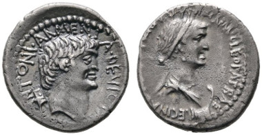 Los 104: RÖMISCHE REPUBLIK. M. Antonius, Denarius, Alexandria, Herbst 34 v. Chr. Crawford 543/1, Albert 1701, CRI 345. RR, f.vzgl. Rufpreis: 3.800 Euro, Zuschlag: 10.000.