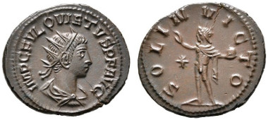 Los 252: RÖMISCHE KAISERZEIT. Quietus (260-261), Usurpator in Syrien, Antoninianus, Samosata (Samsat), 2. Emission, September 260-Herbst 261 n. Chr. RIC 10, MIR 1741n. R, stplfr. Rufpreis: 300 Euro, 1.800 Euro.