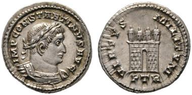 Los 306: RÖMISCHE KAISERZEIT. Constantinus I. (306-337), Halbsiliqua, Treveri (Trier), 309-313 n. Chr. RIC 828 (R3), RSC 707b. RR, f.stplfr. Rufpreis: 800 Euro, 4.200 Euro.