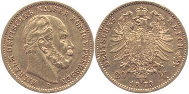 Deutsches Kaiserreich. Preussen. 20 Mark, Gold, 1873 B . Jaeger 243 B. Sehr schön +. 335 Euro.