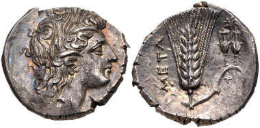 Lot 375: LUCANIA, Metapontion. Circa 290-280 BC. Nomos. HN Italy 1625. EF, toned, somewhat irregular flan, a little die wear. From the Camerata Romeu Collection. Estimate $500.