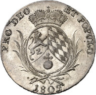 No. 17: Germany / Bavaria. Maximilian I (IV) Joseph, 1799-1806-1825. Convention taler 1802. AKS 7 (this coin). Kahnt 54 (this coin). Ex sale MMAG 74 (1988), 976 and ex Heidelberger Münzhandlung 58 (2011), 21. Extremely rare. Almost brilliant uncirculated. Estimate: 50.000 euros.