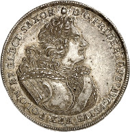 No. 301: Germany / Saxony. Friedrich August I, 1694-1733. Reichstaler, no date (1705), Dresden, on the Restauration of the Polish Order of the White Eagle. Schnee 1001. Very rare. Extremely fine to brilliant uncirculated. Estimate: 50.000 euros.