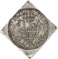 Nr. 624: UNGARN. Wladislaus II., 1490-1516. Vierfache Reichstalerklippe 1626 CC, Kaschau. Dav. 4716. Sehr selten. Vorzüglich. Taxe: 100.000,- Euro.
