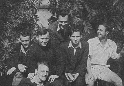 Karol Wojtyla among friends in Cracow. Photo: Wikipedia.