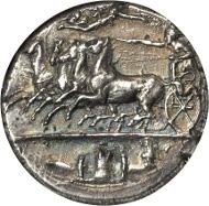 Lot 30023: SICILY. Syracuse. Dionysios I, 406-367 B.C. AR Decadrachm, ca. 405-400 B.C. NGC Ch AU, Strike: 4/5 Surface: 3/5. Fine Style.