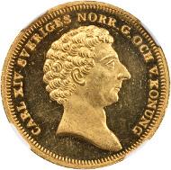 Lot 40083: SWEDEN. 4 Ducat, 1839-AG. Stockholm Mint. Karl XIV Johan (1818-44). NGC. MS-63 PL.