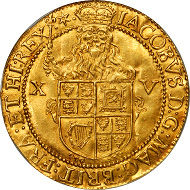 Lot 41054 - GREAT BRITAIN. Spur-Ryal (15 Shillings), ND (1619-24). Third Coinage. James I (1603-25). NGC MS-64.