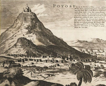 View of Potosi by Bernard Lens. Herman Moll, Map of South America, London 1715.