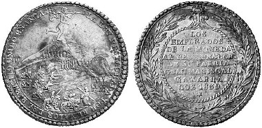Peru, Republic since 1822. Silver medal of 4 reales 1839, issued by the Cuzco minting official, on the victory of General Gamarras over the president of the Peruvian-Bolivian Confederation. Ex Künker Auction 92 (June 22, 2004) lot. 1208.