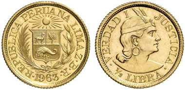 Peru, Republic since 1822. 1/2 Libra 1963. Ex Künker Auction 239 (October 10, 2013) lot. 5592.